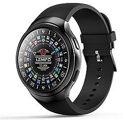 LEMFO LES2 Ver Android 5.1 Reloj Inteligente Sincronización de información podómetro (Color: Negro)