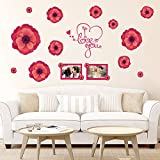 UberLyfe Valentines Day Spacial Pink Flowers with Love Wall Sticker Size 4 (Wall Covering Area: 82cm x 115cm) - WS-1348