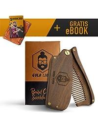 Oro Lions Barba peine de madera de sándalo. I hecha a mano I + Bonus eBook I garantía de satisfacción. I plegable I también adecuado como pelo peine I mejor Complemento a Barba Cepillo y bartöl