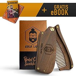 Bartkamm von Gold Lions I auch als Haarkamm geeignet I handgefertigt I aus echtem Sandelholz I+Bonus eBook I Zufriedenheitsgarantie I klappbar I