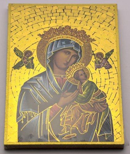Nostra Signora del Perpetuo Soccorso Placca da parete mosaico + Scheda di Lourdes
