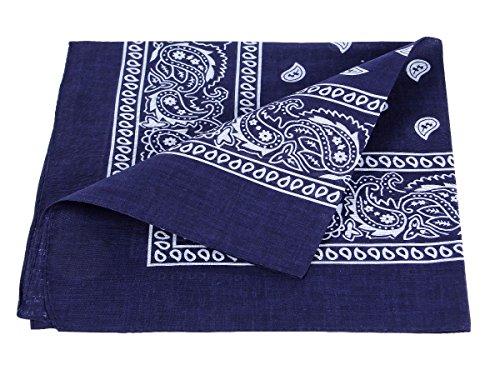 Alsino Bandana Zandana Kopftuch Halstuch Paisley Muster 100% Baumwolle, Farbe wählen:dunkel blau 60