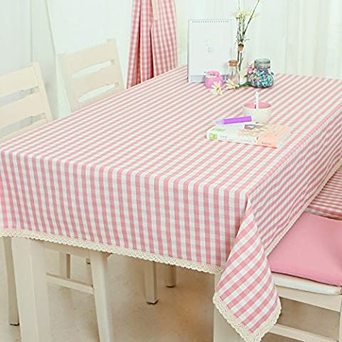 Moderno minimalista pizzo tovaglia Fresh rosa plaid panno tovaglie tuta impermeabile, Cotone, Spring style pink skirt a tablecloth, 140*220cm