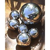 6 x Sfere decorative in acciaio lucido in Contenitore di PVC Ø 4,5 & 8 cm