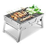Sunkorto Barbecie Portatile a Carbone Griglia Barbecue Pieghevole in Acciaio Inossidabile con Utensile Kit BBQ Grill Barbecue per Pincnic in Balcone Giardino Picnic all'Aperto
