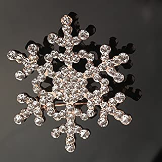 Bluelover Christmas Brooch Snowflake Design Brooch Festival Party Brooch Trendy Women Jewelry Festival Gift - Gold