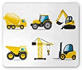 Kids Mouse Pad, Cartoon Style Heavy Machinery Truck Crane Digger Mixer Tractor Construction Gaming Mousepad Office Mouse Mat Yellow Grey Black