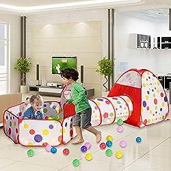 MAIKEHIGH Tente Pop Up Tunnel des enfants Maison de Jouet et Piscine -3piècesIndoor / Outdoor, BOULES NON INCLUS