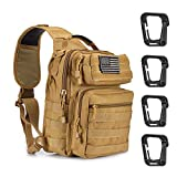 sehrgo Tactical Sling Bag Pack, Military Schulter Sling Rucksack mit 4 Tactical D-Ring Clips, Herren, khaki