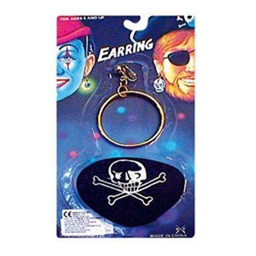 Adult Fancy Dress Pirate Eyepatch And Large Gold Ear Ring (Adult Fancy Dress Pirate)