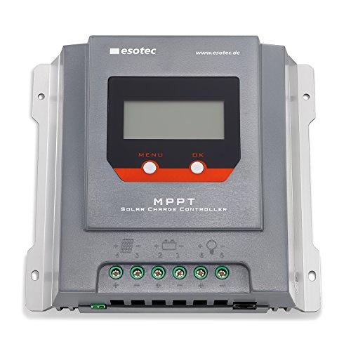 30A Solar MPPT Laderegler mit Display für 12-24V Solarsysteme mit auto-Erkennung, max. Solarmodulspannung 55V, normaler Modus und D2D Modus für Außenbeleuchtung, Solarregler Controller esotec 140015