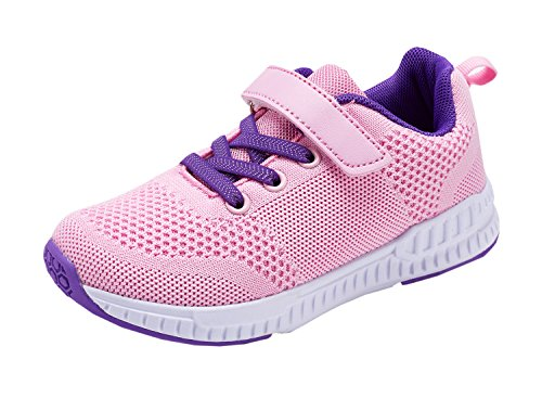 Piup Kid's Lightweight Boys and Girls Sneakers Casual Running Shoes Pink 31