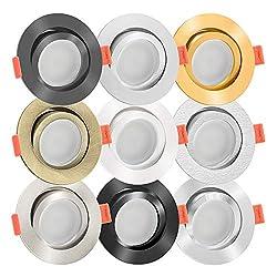 10x LED Einbaustrahler Aluminium rund 230V   extra flach 25mm   DIMMBAR   6W statt 70W   120° Abstrahlung & schwenkbar   warmweiß 2700K   9 Farben zur Auswahl (Schwarz)
