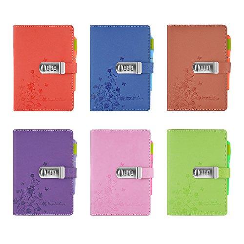 Ya Jin A5Blumen Schmetterling PU Leder Sperren Zeitschriften Note Bücher Secret Diary Notebook mit Zahlenschloss und Stifthalter violett (Kombination Sperre Laptop)
