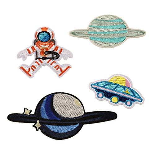 Meatilk 4St Astronaut-Raumfahrzeug Aufnäher Bügelbild Aufbügler Iron on Patches Applikation DIY Kinder Kleidung