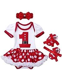 3af73cd24 YiZYiF Disfraz Bebé Vestido Pelele Niña para Primer Cumpleaño Navidad  Bautizo Fiesta