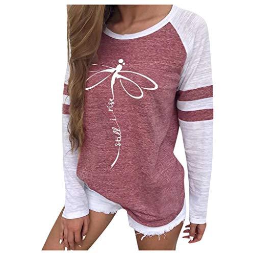Bluestercool T-Shirts à Manches Longues Femmes Casual Blouse Chic Imprimé Sweat-Shirt Automne Hiver Chemises Tops