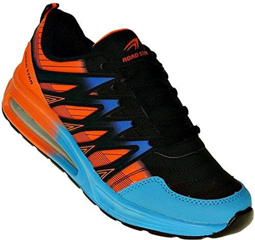 Bootsland Neon Turnschuhe Sneaker Sportschuhe Luftpolster Unisex 002, Schuhgröße:45, Farbe:Schwarz/Orange/Blau
