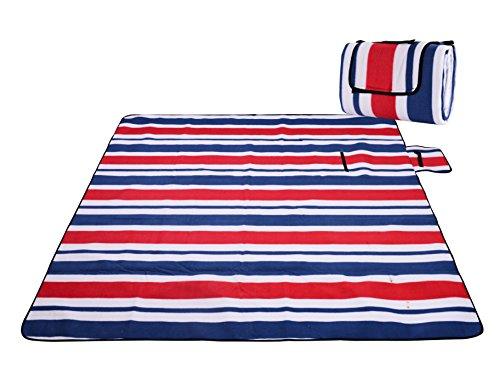 Honeystore Flanell Wasserdichte Yoga Matte Strand Ausflug Picknickdecke Mit Tragegriff 200*150 CM Rot Blau Streifen