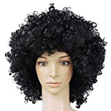 #7: Forberesten Clown Wig Curly Hair Afro Circus Fancy Dress Hair Wigs Xmas Party Prank Costume Halloween Disco( Black)