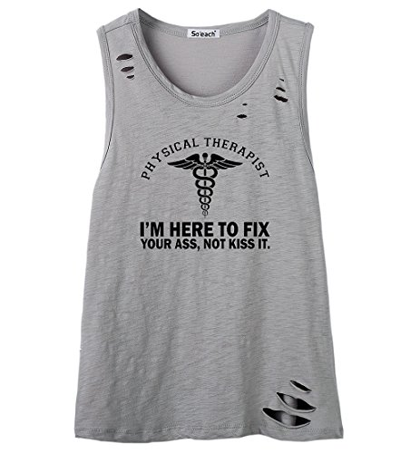 So'each Women's I'm Here To Fix Letters Graphic Printed Tanks Camis Tops Grau