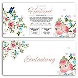 (40 x) Hochzeitseinladungskarten Blumen Rosa Pink edel Einladungskarten Hochzeit