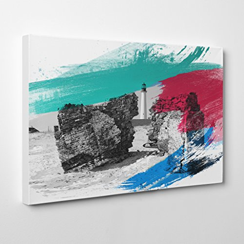 Arty Pie Canvas Print 24 x 16 Inch (60 x 40 cm) Architecture Lighthouse Cape May Point s, NJ V2, Wood, Multi-Colour, 60 x 40 x 3 cm (May Cape Lighthouse)