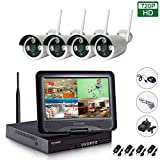 EDSSZ 4 Channels Waterproof IR Night Vision 720P Wireless IP Camera 10.1' LCD Monitor WIFI NVR System,Mobile Remote View Motion Detection E-mail Alert EDS-WIFIKITLCD04-720P