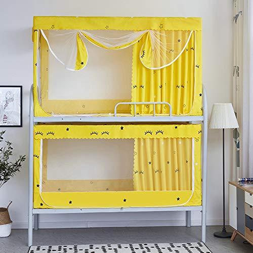 SNOLEK Moskitonetz - Studentenzimmer Etagenbett staubdicht Schatten einteiliger Vorhang Reißverschluss Moskitonetz 0,9 m gelb [90 Etagen] Breite 90 lang 190 hoch 90