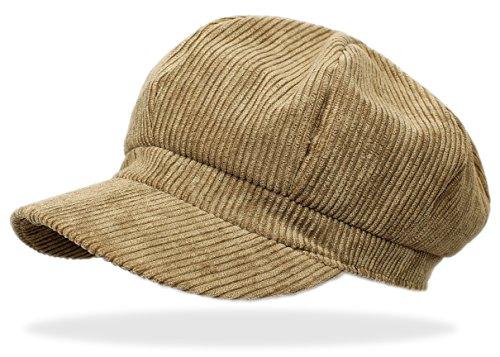 Schirmmütze Damen Ballonmütze Cord Kappe Damen Mütze mit Schirm Damenhut - BM110 (BM111-Dunkelbeige) (Cord Kappe Baumwolle)