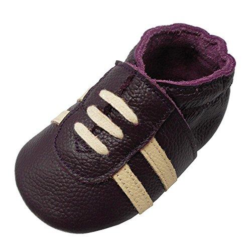YIHAKIDS Weicher Leder Lauflernschuhe Krabbelschuhe Babyhausschuhe Turnschuh Sneakers mit Wildledersohlen(Lila,6-12 Monate)