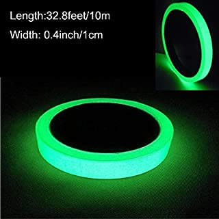 ARTGEAR Glow in the Dark Self-adhesive Tape, Green Light Luminous Tape Sticker, 32.8 ft x 0.4 inch (10m x 1cm): Waterproof, Removable, Durable, Wearable, Stable, Safety