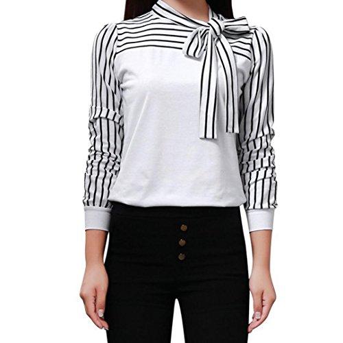 MRULIC Damen Shirt Tie-Bow Neck Striped Langarm Spleiß Bluse Gestreift Damen Tragen (EU-40/CN-L, Weiß)