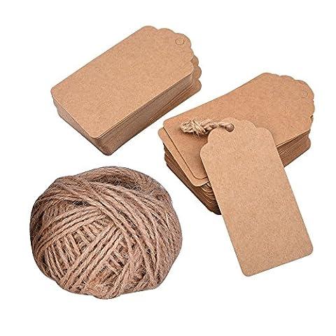 Mudder 7 * 4 cm Carte Étiquette Brun de Papier Kraft Étiquette pour Cadeau, Bagage, Mariage avec 30 Mètres Ficelle, 100