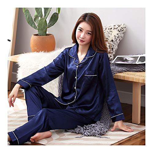 Haoliequan pigiama maniche lunghe in seta pigiama donna estate pigiama set seta sleepwear donna autunno inverno set pigiama, cd chun lan, xl