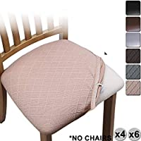 YISUN Jacquard Dining Chair Seat Covers, Stretch Spandex No Backrest Dining Chair Seat Protector Cover Removable Washable for Office High Chairs 4/6 PCs (Light Tan/Jacquard Spandex, 6 PCS/Packet)