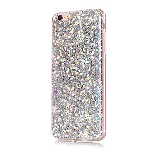 Coque iPhone 6s Plus , Glitter Liquide TPU Etui Coque pour iPhone 6 Plus ,CaseLover La Couleur Pure Motif Mode Etui Coque Bling Bling Paillettes Sable TPU Slim pour Apple iPhone 6 Plus / 6S Plus (5.5  Argent