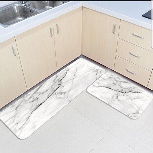 SUN-Shine 2-teilig Küche Matten und Teppiche marmorierte Rutschfeste Metall Textur Road Home Bereich Runner Fußmatten Teppich 19.7x31.5Inch+19.7x47.2Inch - Wieder Teppich Läufer Gummi