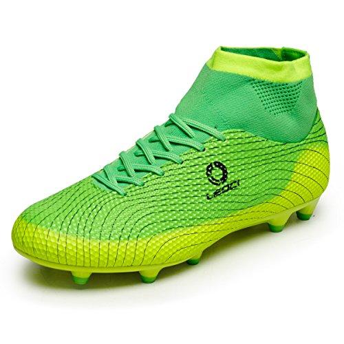 LEOCI Kinder Fußballschuhe AG Spike Microfaser Cleats Jugendliche Beruf Athletics High Top (37, Grün)
