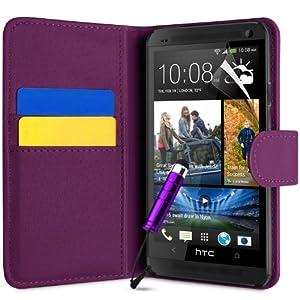 Supergets® Schlichte Einfarbige Hülle für HTC One M7 Brieftasche in Lederoptik, Schale mit Karteneinschub, Etui, Buchstil Geldbörse, Mit Schutzfolie, Mini-Eingabestift ( Nicht geeignet für HTC One mini M4 oder HTC One X )