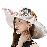 Cappello da sole fashion elegante floreale per donne signore ragazze; ampio orlo protezione solare anti-UV; pieghevole secchio cappello leggero traspirante. Per vacanze, spazi aperti, ciclismo, viaggi, spiaggia, cappello Topee, donna, Beige
