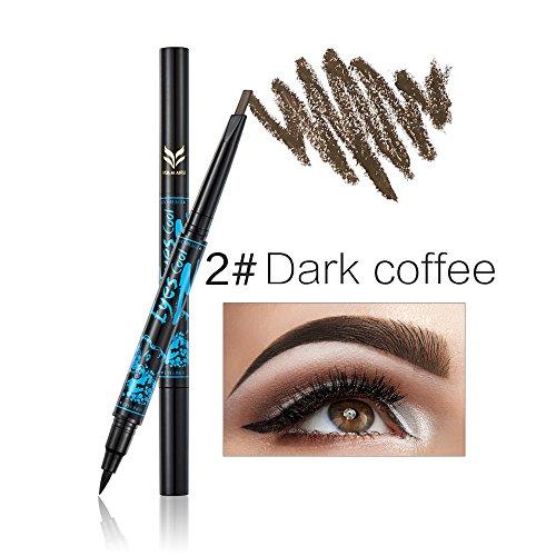 Lápiz de cejas automático Ladygo con delineador de ojos de larga duración 2 en 1, artículo de maquillaje resistente al agua