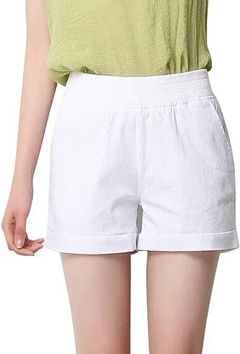 YiLianDa Femme été Short en Lin Casual Solide élastique Taille Haute Short