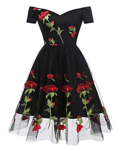 Promgirl House Damen Neu Kurz Mini Ab-Schulter Kurze Aermel Satin Rose Print Chiffon Abendkleid...
