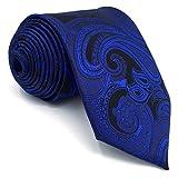 Shlax&Wing Hombre único Extra largo Seda Corbatas Para Azul Cachemir