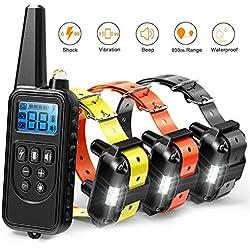 TZLong Collar de adiestramiento de Perros a Distancia, Recargable con pitido, vibración y Collar eX
