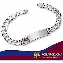 Esclava escudo F.C. Barcelona Plata de ley barbada mediana [6881] - Modelo: BC804