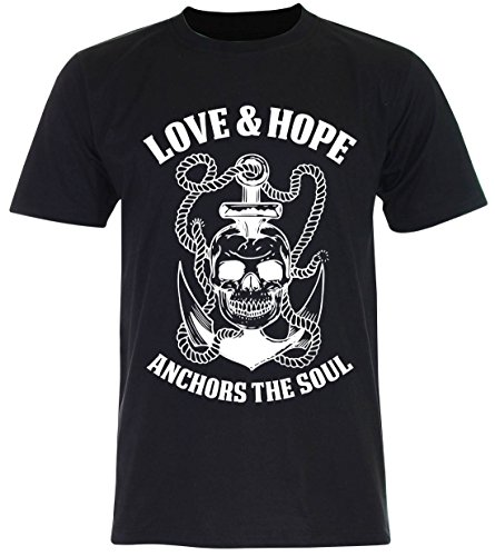 PALLAS Unisex's Anchor Sailor Love and Hope Vintage Funny T Shirt Black
