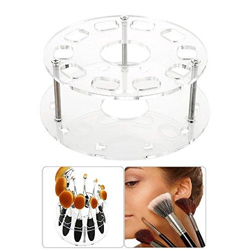 Support pour brosse de maquillage 10 trous Séchage étagère Rack Cosmétique Outil 14*5.5cm claire