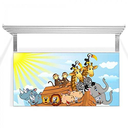banjado - Wandgarderobe mit Edelstahl Hutablage 80x40x28cm Design Garderobe braun 4 Metall Wandhaken Motivgarderobe Arche Kids
